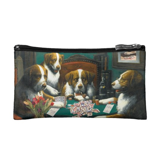 Dogs Playing Mah Jongg Cosmetic Bag