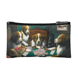 Dogs Playing Mah Jongg Zippered Money Bag