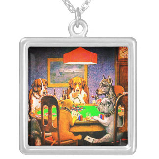 Dogs Playing Poker A Friend In Need Silver Plated Necklace