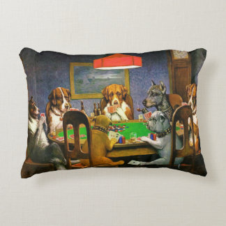 Dogs playing poker, cushion , art by Coolidge