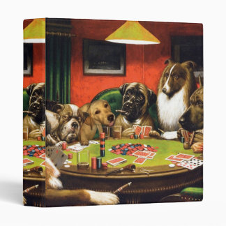 Dogs playing poker - funny dogs -dog art 3 ring binder