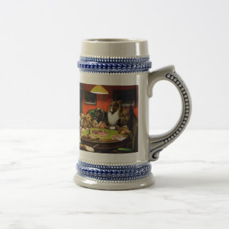 Dogs playing poker - funny dogs -dog art beer stein