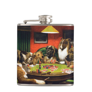 Dogs playing poker - funny dogs -dog art hip flask