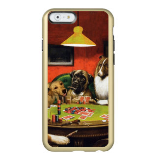 Dogs playing poker - funny dogs -dog art incipio feather® shine iPhone 6 case