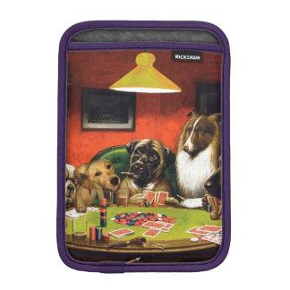 Dogs playing poker - funny dogs -dog art iPad mini sleeve