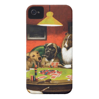 Dogs playing poker - funny dogs -dog art iPhone 4 covers