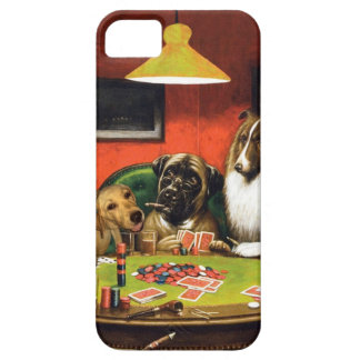 Dogs playing poker - funny dogs -dog art iPhone 5 case