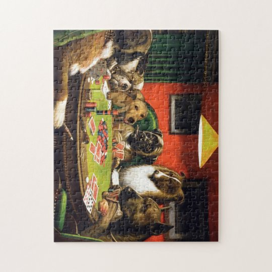 Dogs playing poker - funny dogs -dog art jigsaw puzzle