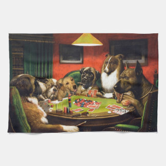 Dogs playing poker - funny dogs -dog art kitchen towel
