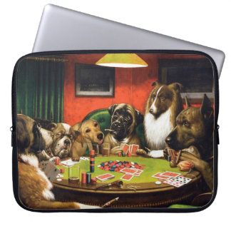 Dogs playing poker - funny dogs -dog art laptop sleeve