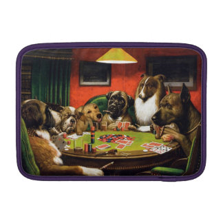 Dogs playing poker - funny dogs -dog art MacBook sleeve