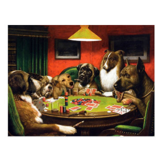Dogs playing poker - funny dogs -dog art postcard