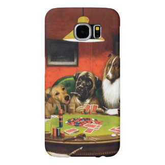 Dogs playing poker - funny dogs -dog art samsung galaxy s6 cases