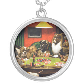 Dogs playing poker - funny dogs -dog art silver plated necklace