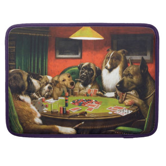 Dogs playing poker - funny dogs -dog art sleeve for MacBook pro