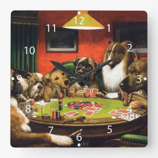 Dogs playing poker - funny dogs -dog art square wall clock