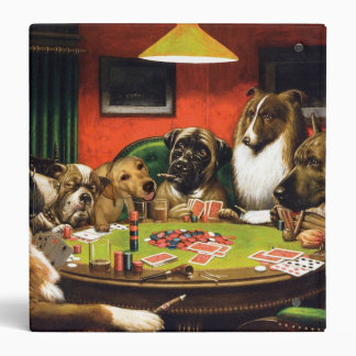 Dogs playing poker - funny dogs -dog art vinyl binders