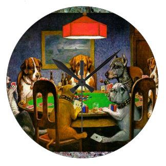 Dogs Playing Poker Large Clock