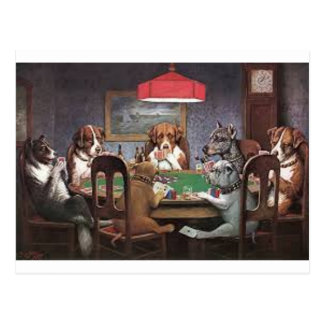 Dogs Playing Poker Postcard