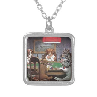 Dogs Playing Poker Silver Plated Necklace