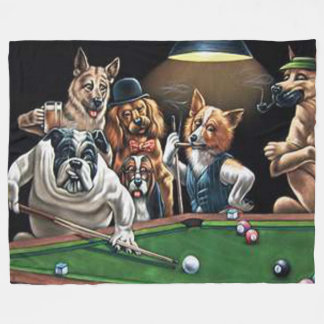 Dogs Playing Pool - Bulldog Fleece Blanket