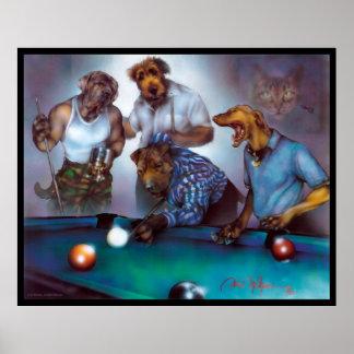 Dogs Playing Pool - Dan Mc Manus Poster