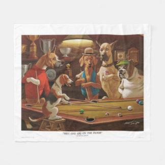 Dogs Playing Pool - One Leg on the Floor Fleece Blanket