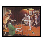 Dogs Playing Pool - The Scratching Beagle Poster