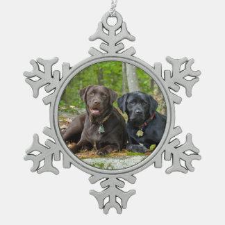 Dogs Puppies Black Lab Chocolate Labrador Retrieve Pewter Snowflake Ornament