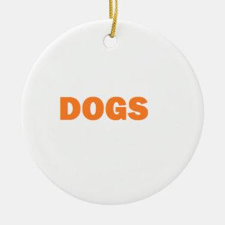 DOGS ROUND CERAMIC ORNAMENT