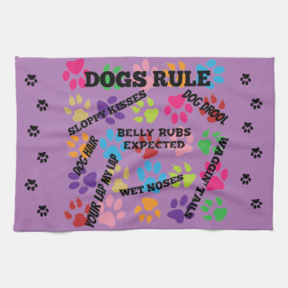 Dogs Rule Colorful Paw Prints Kitchen Towel