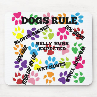Dogs Rule Colorful Paw Prints Mouse Pad