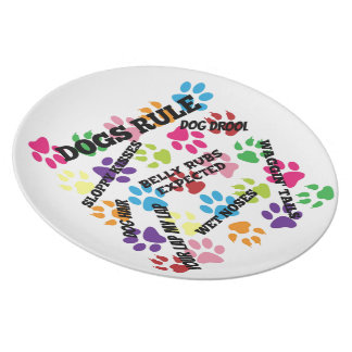 Dogs Rule Colorful Paw Prints Plates