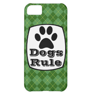 Dogs Rule Paw Print Green Argyle iPhone 5 Case