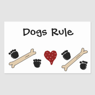 Dogs Rule - Paw Prints and Bones Sticker