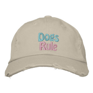 Dogs Rule, Save a Life, Adopt Rescue Shelter Dog Embroidered Hats
