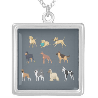 Dogs Silver Plated Necklace