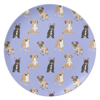 Dogs Vector Seamless Pattern Plate