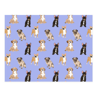 Dogs Vector Seamless Pattern Postcard