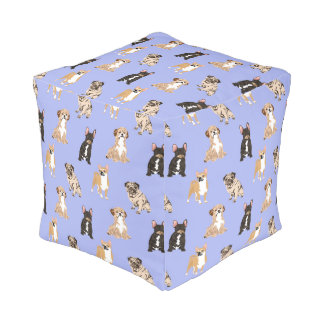 Dogs Vector Seamless Pattern Pouf