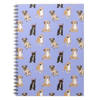 Dogs Vector Seamless Pattern Spiral Notebook