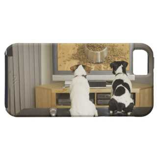 Dogs watching dog dish with food on TV Case For The iPhone 5