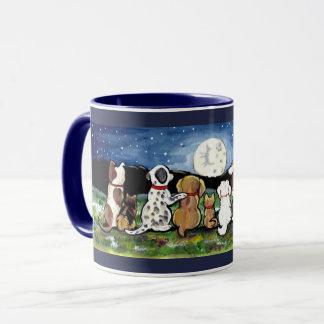 Dogs Watching Moon Dark Blue Designer Mug