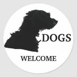 Dogs Welcome Classic Round Sticker