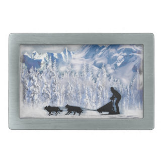 Dogsledding Rectangular Belt Buckles