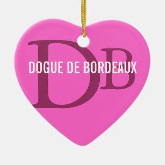 Dogue de Bordeaux Breed Monogram Ceramic Heart Ornament