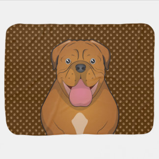 Dogue de Bordeaux Cartoon Paws Baby Blanket