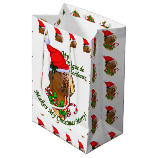 Dogue de Bordeaux Christmas Medium Gift Bag