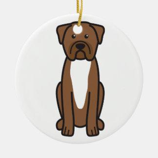 Dogue de Bordeaux Dog Cartoon Round Ceramic Ornament