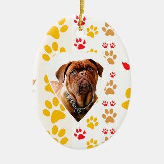 Dogue de Bordeaux Dog Heart Paws Print Ceramic Oval Ornament